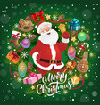 santa claus with bell merry christmas greeting vector image