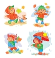 set icons small children vector image