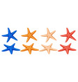 set of colored starfish on a white background vector image vector image