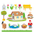 set of colorful gardening icon vector image vector image