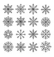 set of isolated decoration snowflake vector image