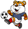 Soccer tiger player vector image vector image