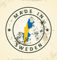 Stamp with map flag of Sweden vector image vector image