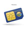State of Montana phone sim card with flag vector image vector image