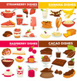strawberry and banana raspberry and cocoa dishes vector image