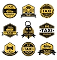 Taxi Service Black Yellow Emblems vector image