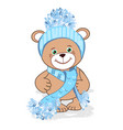 teddy bear in a knitted hat vector image