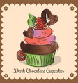 vintage card dark chocolate cupcakes vector image vector image