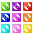 vinyl icons 9 set vector image vector image