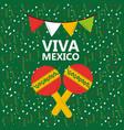 viva mexico maracas music confetti pennant green vector image
