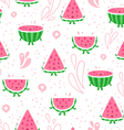 Watermelon fun seamless pattern vector image vector image