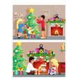 winter holiday room family decorating christmas vector image vector image