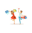 young happy women having fun with shopping bags vector image vector image