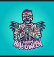zombie mummy happy halloween vector image vector image