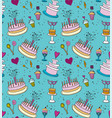seamless pattern with holiday cakes vector image