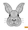 Zentangle Rabbit head for for adult antistress col vector image