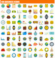 100 business icon set flat style vector image