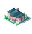 3d isometric large comfortable home with green vector image vector image