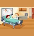 boy sleeping in hospital vector image vector image