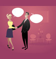businessmen and businesswoman shaking hands-02 vector image