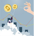 businesswoman flying on dollar sign balloon vector image
