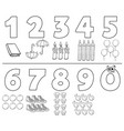 cartoon numbers collection coloring book vector image