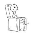 cartoon of happy man or businessman sitting in vector image vector image