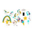 cartoon unicorns magic objects set vector image vector image