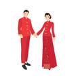Chinese wedding couple in traditional red dress