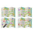 city maps collection with magnifying glass and vector image