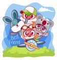 cute cartoons animals are flying on a plane can vector image