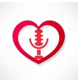 design element heart with microphone vector image vector image