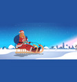 girl in santa claus costume riding sledge happy vector image vector image
