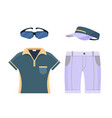 golf uniform set clothes icon isolated on white vector image vector image