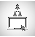 hand draw laptop group social network media vector image vector image