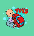 little baby favorite cute baby chewing on a toy vector image