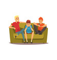 male friends spending time together guys sitting vector image vector image