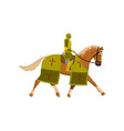 medieval old knight in green color armor and brown vector image vector image