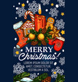 merry christmas sketch greeting card vector image