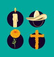 mexican hat with set icons vector image