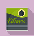 olives can icon flat style vector image