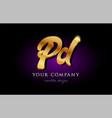 pd p d 3d gold golden alphabet letter metal logo vector image vector image