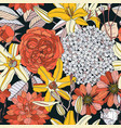 seamless pattern with spring flowers on white vector image vector image