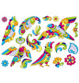 set decorative tropical parrots mexican vector image vector image