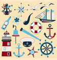 set of nautical icons and design elements in flat vector image vector image