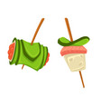 snacks on wooden sticks sushi with cucumber and vector image