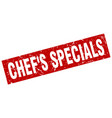 square grunge red chefs specials stamp vector image vector image