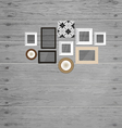 Vintage frame on the wood wall vector image