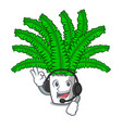 with headphone fresh fern branch isolated on vector image