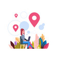 woman geolocation tag marked bubbles map pin hold vector image